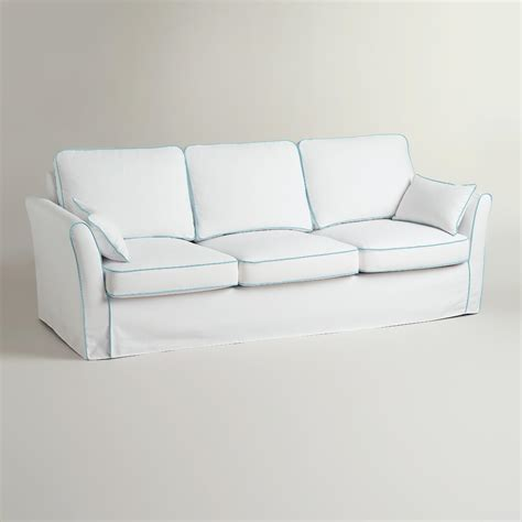 white slipcover for sofa white and blue luxe 3 seat sofa slipcover world market
