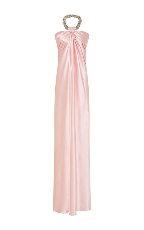 beaded halter gown naeem khan beaded halter silk gown in pink lyst