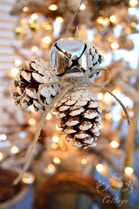 pine cones tree ornaments rustic jingle bell pinecone tree ornament fox