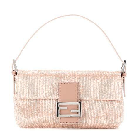 Fendi Baguette Beaded Shoulder Bag In Pink Lyst