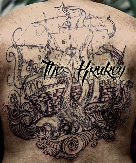 kraken attacking ship tattoo on full back by ruth moreno
