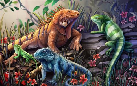endangered iguanas by charfade on deviantart