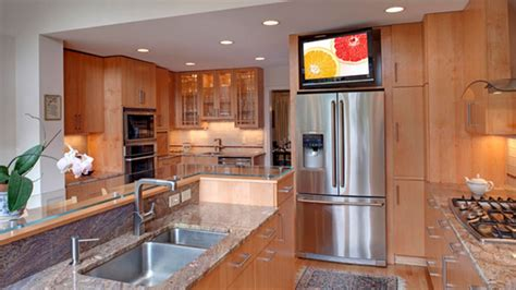 tv in kitchen ideas 20 awesome flat screen tv furniture in the kitchen home design lover