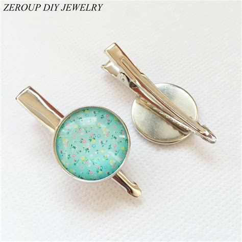 supplies for jewelry zeroup 20mm 10pcs silver plated hair hairpin cameo