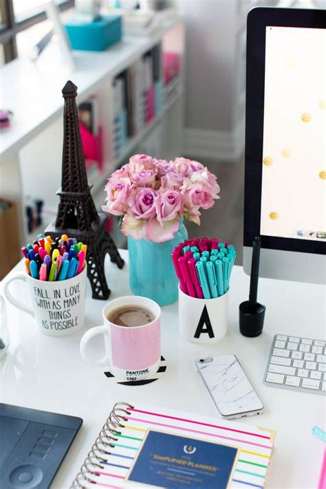 office desk decoration ideas pink and blue desk accessories simplified planner studio