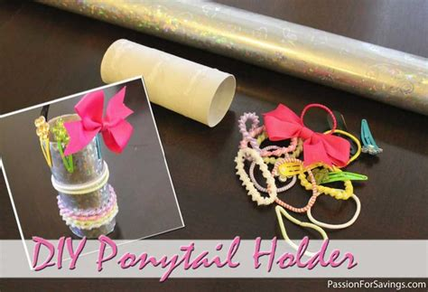 toilet paper holder crafts for make a ponytail holder from an empty toilet paper