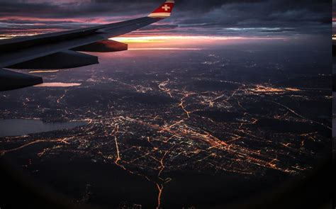 view lights nature landscape airplane window cityscape clouds