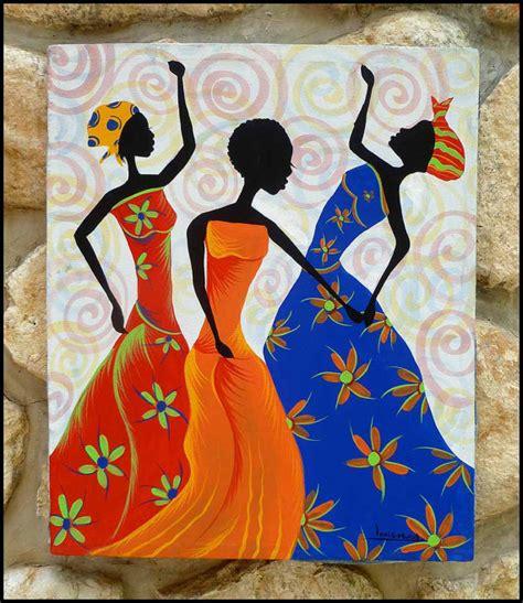 Afrocentric Home Decor colorful haitian women dancing haitian art hand