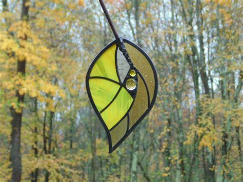 glass leaf stained glass leaf suncatcher autumn yellow leaf home