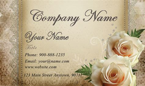 white roses wedding floral business card design 701081