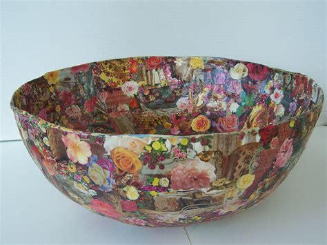 large decoupage paper large paper mache decoupage bowl roses images original design