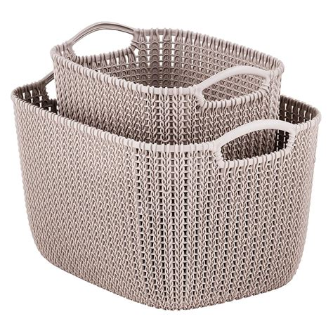 knitting baskets curver sand knit storage baskets the container store