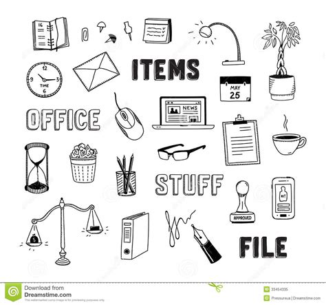 Office And Business Objects Doodles Set Stock Vector   Image: 33454335