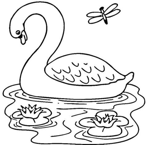 dibujo de cisne en el lago para colorear dibujos para