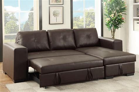 sofa sectional sleepers poundex samo f6930 brown leather sectional sleeper sofa