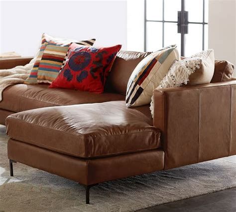 leather sofa sectional with chaise jake leather sofa with chaise sectional pottery barn