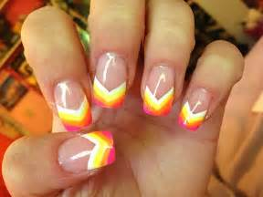 acrylic paint nail ideas neon rainbow painted nail tips acrylic nail design