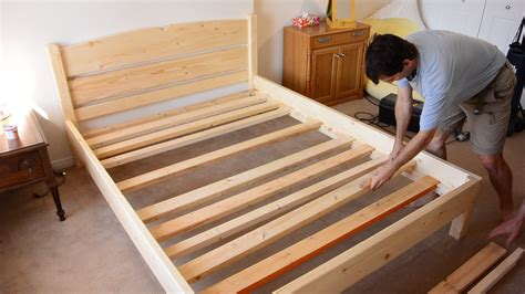 wood bed frame construction building a size bed from 2x4 lumber