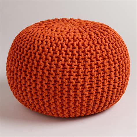 knitted pouf jafra orange knitted pouf world market