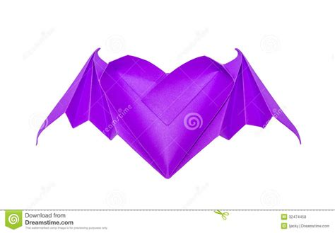 origami hearts with wings origami with bat wings royalty free stock photos