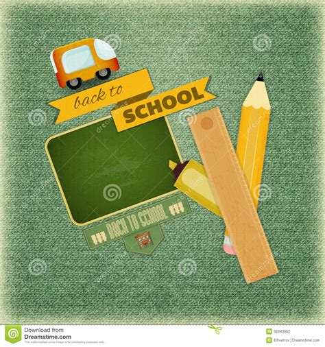 vintage card supplies back to school retro card stock vector image of frame