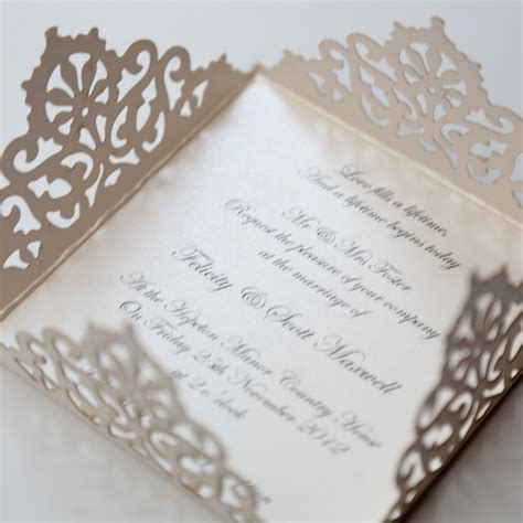 lace edged ivory square laser cut wedding invitation