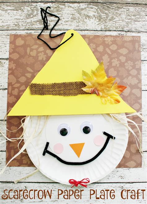 fall paper plate crafts scarecrow paper plate craft for thanksgiving