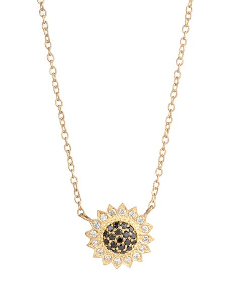 black jewellery small chains wolf small black white sunflower necklace