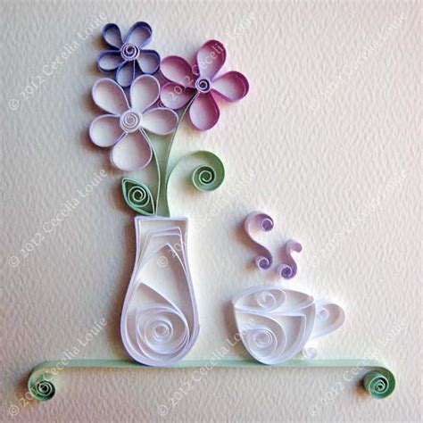 pretty craft paper pretty quilled vase and teacup embellishment
