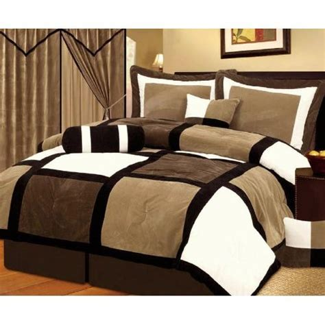 brown and white comforter sets chezmoi collection 7 pieces black brown and white suede