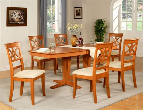 cherry wood dining room furniture 7pc dining room set table and 6 wood seat chairs in light cherry finish