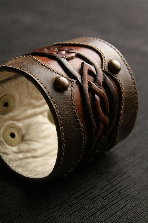 Ethos Leather Cuff Leather Bracelet Brown Leather Cuff