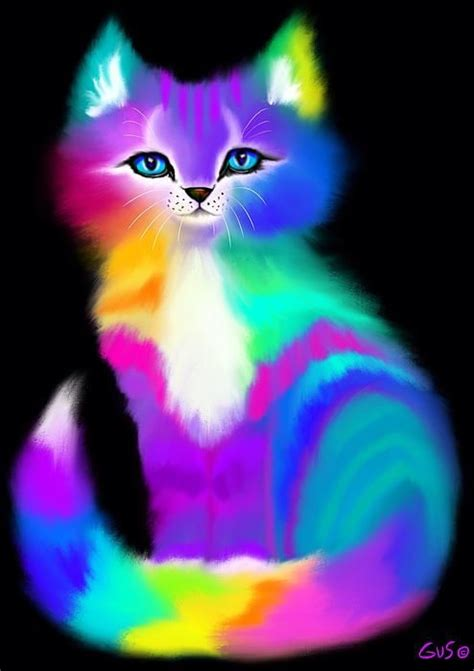 rainbow cat painting colorful striped rainbow cat print by nick gustafson