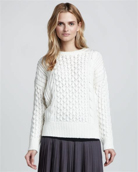 white chunky knit sweater chunky cable knit sweater in white lyst