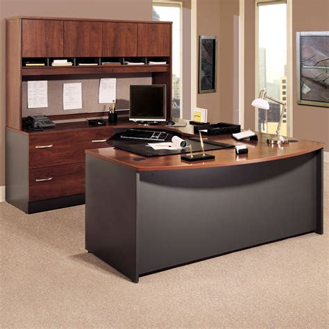 u shaped desk with hutch bush series c u shaped desk with 4 door hutch and lateral