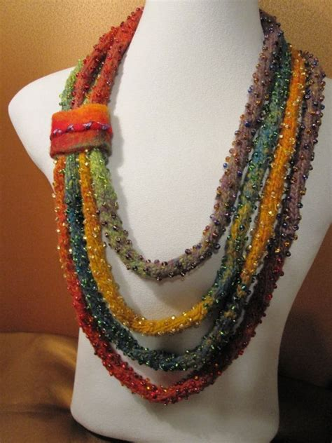 knitted necklace beaded i cord knitted necklace beautiful merino wool