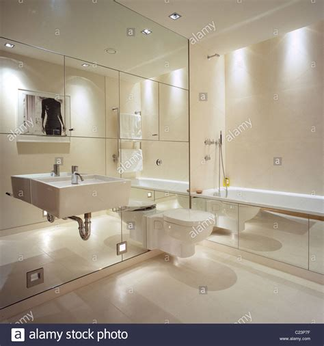 mirrored wall in contemporary bathroom with interior