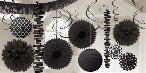 black and white decorations black decorations black balloons banners confetti