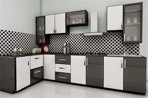 modular kitchen designs black and white kitchen with acrylic shutters inscape modular kitchens