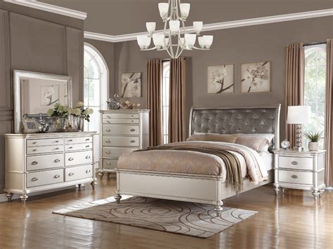modern king bed sets 4pc zurich modern transitional metallic silver wood