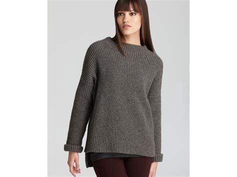 shaker knit sweater vince sweater rib stitch shaker knit crew in gray lyst