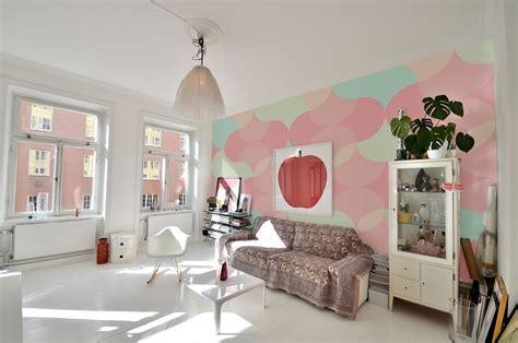 Modern Interior Designer bring the essence of summer indoors wall murals in pastel
