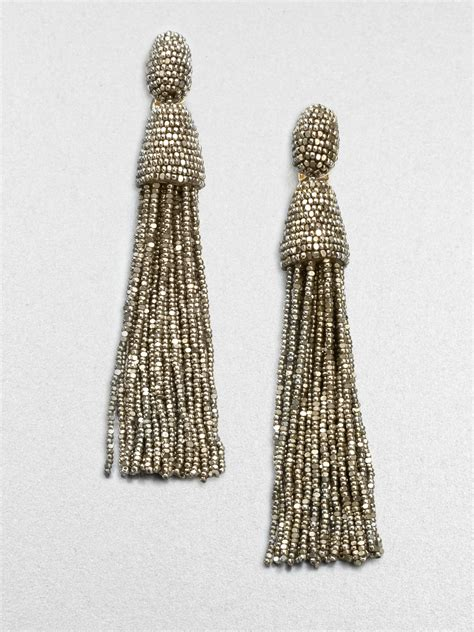 oscar de la renta beaded tassel earrings oscar de la renta beaded tassel clip on earrings in