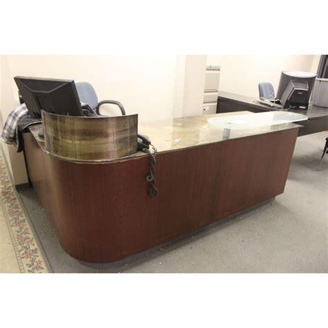 glass l shape desk glass top l shape reception desk