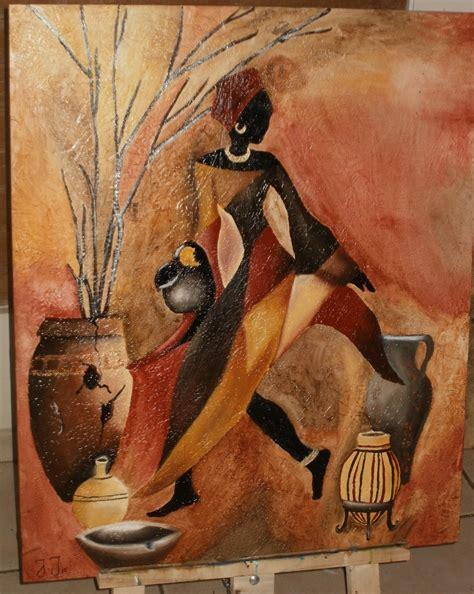 cuadros etnicos mujeres africanas africana con jarrones pinturas arte 396086