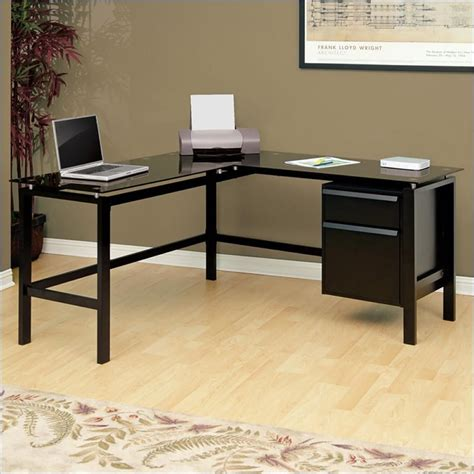 l shaped studio desk studio rta glass top l shaped desk in black 410866