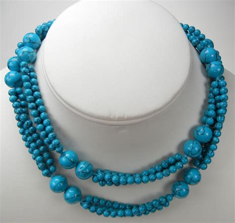 synthetic turquoise beautiful endless synthetic turquoise necklace 10mm