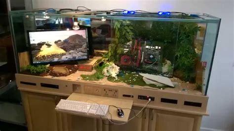 desk pc build gaming pc reptile tank i7 pc built into desk gaming