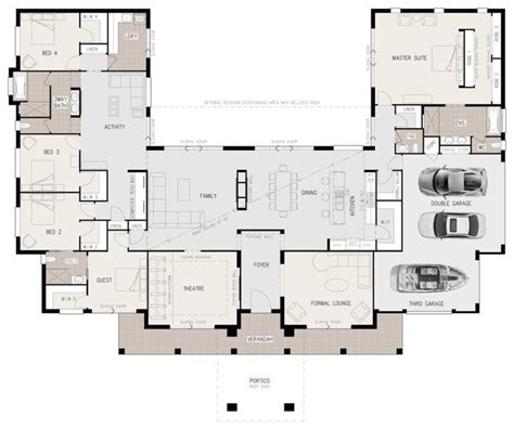 house plans 5 bedrooms floor plan friday u shaped 5 bedroom family home building shapes bedrooms and