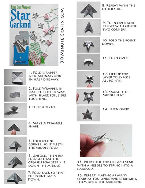 gum wrapper origami gum wrapper garland